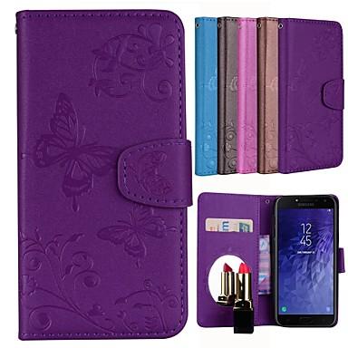 غطاء من أجل Samsung Galaxy J4 حامل البطاقات / مع حامل / نموذج غطاء كامل للجسم فراشة / زهور قاسي جلد PU