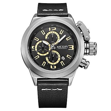 MEGIR رجالي ساعة رياضية ياباني كوارتز جلد طبيعي أسود / بني 30 m مقاوم للماء رزنامه ساعة كاجوال مماثل كاجوال موضة - أسود بني