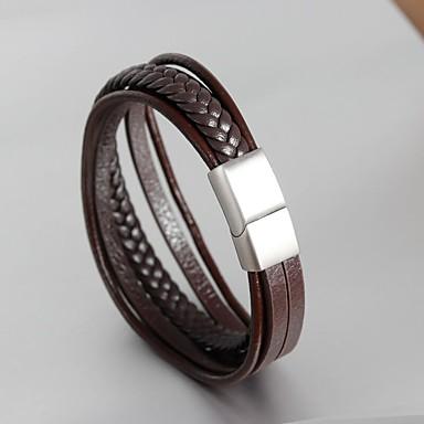 Herr Vintage Stil Flätad Manschett Armband Armband av Remmar Läder Armband  Läder Rostfritt stål Kreativ Band bb1bb975229a5