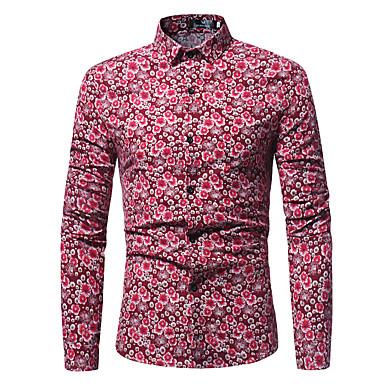 billige Herrers Mode Beklædning-Tynd Herre - Blomstret Bomuld Basale Plusstørrelser Skjorte Blå XL / Langærmet