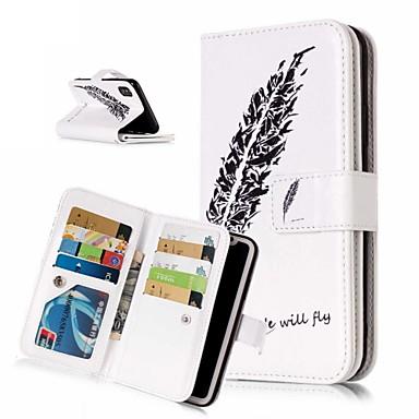 voordelige iPhone 6 Plus hoesjes-hoesje Voor Apple iPhone XS / iPhone XR / iPhone XS Max Portemonnee / Kaarthouder / met standaard Volledig hoesje Veren Hard PU-nahka