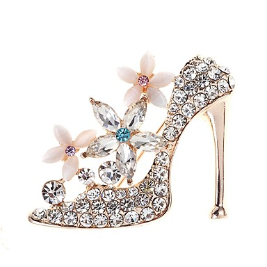 b2113919b8a4 cheap Brooches-Women  039 s 3D Brooches Rhinestone Shoe Ladies Simple  Elegant Brooch