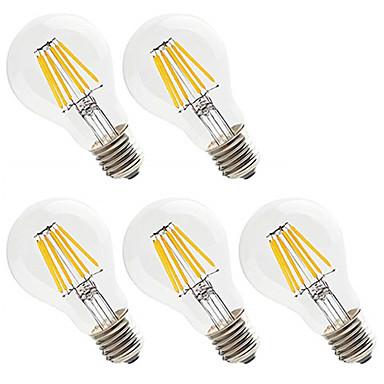 5pcs 6W 560lm E26 / E27 Ampoules à Filament LED A60(A19) 6 Perles LED LED Haute Puissance Décorative Blanc Chaud / Blanc Froid 220-240V