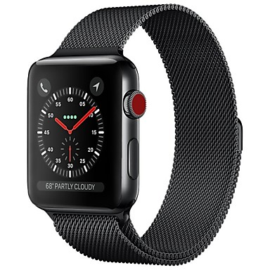 رخيصةأون قيود ساعات-ستانلس ستيل حزام حزام إلى Apple Watch Series 4/3/2/1 أسود / أزرق / فضة 23CM / 9 بوصة 2.1cm / 0.83 Inches