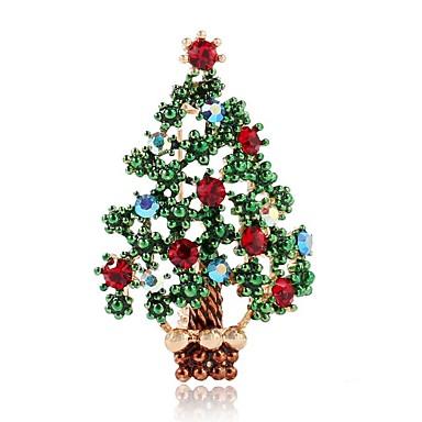 نسائي دبابيس مقصوص كلاسيكي شجرة الكريسماس سيدات بسيط كلاسيكي حجر الراين بروش مجوهرات أخضر من أجل عيد الميلاد