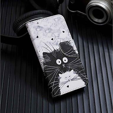 غطاء من أجل Samsung Galaxy A6 (2018) / A6+ (2018) / Galaxy A7(2018) محفظة / حامل البطاقات / مع حامل غطاء كامل للجسم قطة قاسي جلد PU