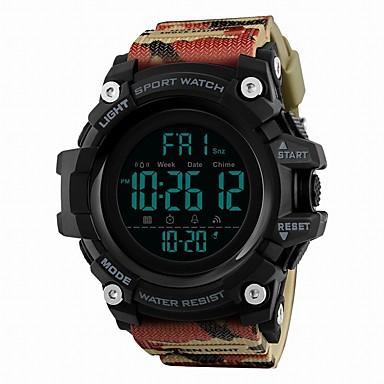 זול שעוני גברים-SKMEI בגדי ריקוד גברים שעוני ספורט שעון דיגיטלי דיגיטלי דמוי עור מרופד שחור / כחול / אדום 50 m עמיד במים לוח שנה אזור זמן כפול דיגיטלי פאר יום יומי - כחול חאקי הסוואה ירוקה / שעון עצר