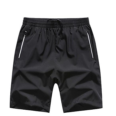 Недорогие Мужская модная одежда-Муж. Классический Большие размеры Повседневные Шорты Брюки - Однотонный Черное и белое Черный XXXXXL XXXXXXL 8XL