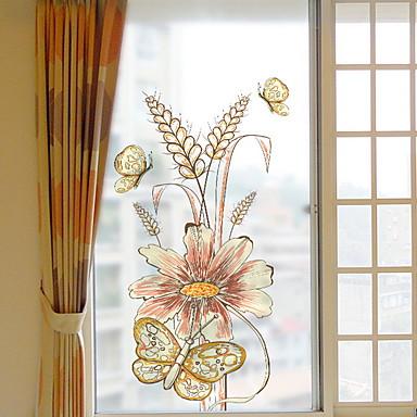فيلم نافذة وملصقات زخرفة العادي وردة / شخصية PVC ملصق النافذة