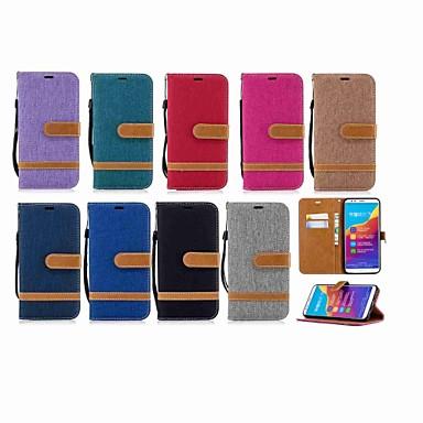 غطاء من أجل Huawei Honor 7X / Huawei Honor 7A / Huawei Honor 7C(Enjoy 8) محفظة / حامل البطاقات / مع حامل غطاء كامل للجسم لون سادة قاسي منسوجات