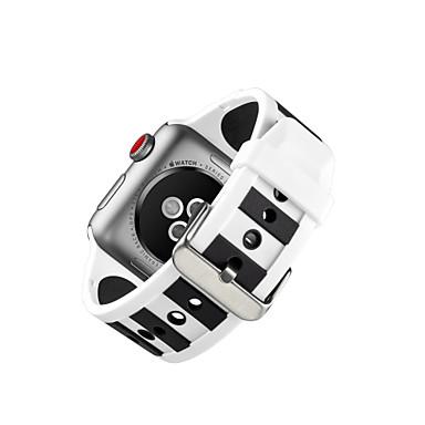 זול שעוני גברים-סיליקון צפו בנד רצועה ל Apple Watch Series 4/3/2/1 שחור 23cm / 9 אינץ ' 2.1cm / 0.83 אינצ'ים