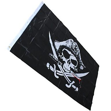 الطرف شريط عظام الجمجمة الحلقات ديكور جولي روجر لافتات جمجمة عظمتان متقاطعتان أعلام القراصنة