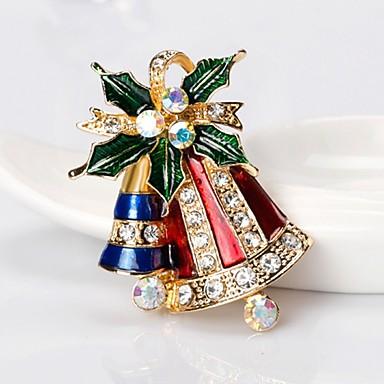 نسائي دبابيس كلاسيكي Bell سيدات بسيط أساسي حجر الراين بروش مجوهرات ذهبي من أجل عيد الميلاد