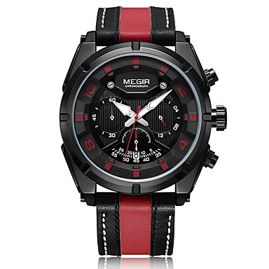MEGIR رجالي ساعة رياضية ياباني كوارتز جلد طبيعي أسود / فضة 30 m مقاوم للماء رزنامه الكرونوغراف مماثل كاجوال موضة - أسود-أحمر أسود / فضي / قضية