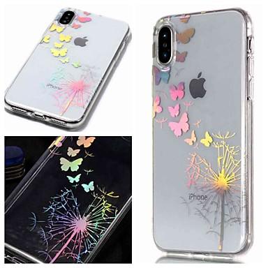 voordelige iPhone 7 hoesjes-hoesje Voor Apple iPhone XS / iPhone XR / iPhone XS Max IMD / Transparant / Patroon Achterkant Vlinder / Paardebloem Zacht TPU