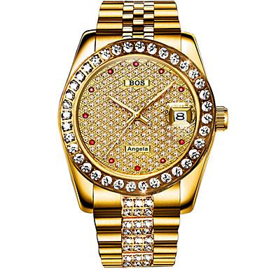 levne Pánské-Angela Bos Pánské Náramkové hodinky japonština Automatické natahování Nerez Stříbro / Zlatá 30 m Voděodolné Kalendář Hodinky na běžné nošení Analogové Luxus Na běžné nošení - Zlatá Stříbrná