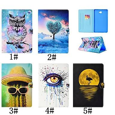 Недорогие Чехлы и кейсы для Galaxy Tab 4 10.1-Кейс для Назначение SSamsung Galaxy Tab 4 10.1 / Tab S3 9.7 / Tab A 9.7 Бумажник для карт / со стендом / Флип Чехол Фламинго / Масляный рисунок / Сова Твердый Кожа PU