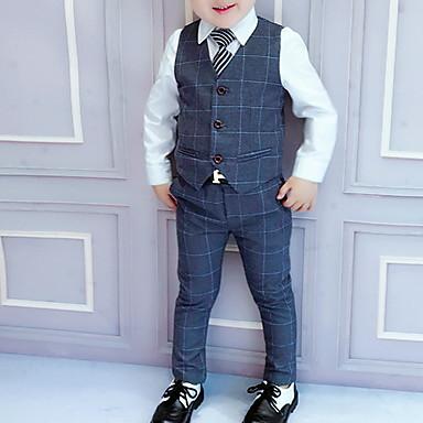 billige Drengetøj-Børn Drenge Gade Ternet Langærmet Normal Polyester Tøjsæt Blå