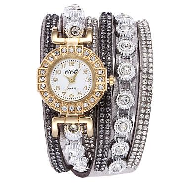 96064e3fe Women's Bracelet Watch Diamond Watch Quartz Wrap Quilted PU Leather Black /  White / Blue Casual Watch Analog Ladies Fashion Elegant - Blue Pink Light  Blue # ...