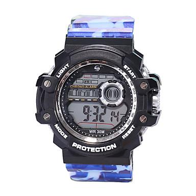 זול שעוני גברים-בגדי ריקוד גברים שעוני ספורט שעון דיגיטלי דיגיטלי סיליקוןריצה שחור 30 m עמיד במים LCD זוהר בחושך דיגיטלי וינטאג' אופנתי - כחול נייבי הסוואה ירוקה