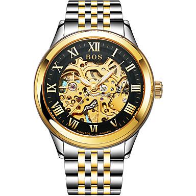 Недорогие Часы на металлическом ремешке-Angela Bos Муж. Часы со скелетом Механические часы С автоподзаводом Нержавеющая сталь Золотистый 30 m Защита от влаги Повседневные часы Аналоговый На каждый день Мода -