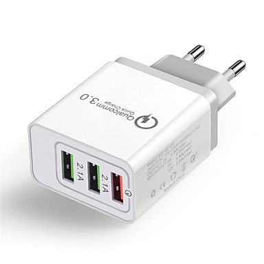 Cwxuan Портативное зарядное устройство Зарядное устройство USB Евро стандарт Несколько разъемов / QC 3.0 3 USB порта 2.1 A 100~240 V для iPhone X / iPhone 8 Pluss / iPhone 8