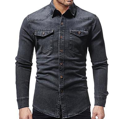 billige Herrers Mode Beklædning-Herre - Ensfarvet Basale Skjorte Blå XL / Langærmet