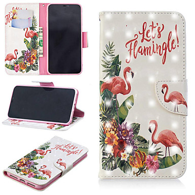 voordelige iPhone X hoesjes-hoesje Voor Apple iPhone XS / iPhone XR / iPhone XS Max Portemonnee / Kaarthouder / met standaard Volledig hoesje Woord / tekst / Flamingo Hard PU-nahka