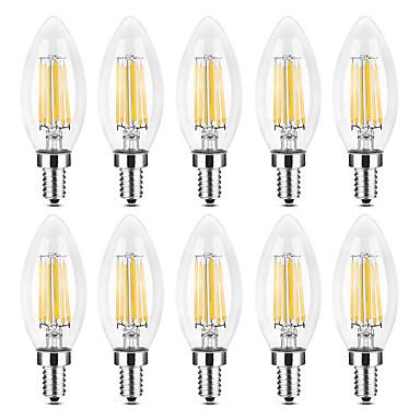 YWXLIGHT® 10pcs 6 W LED Λάμπες Κεριά LED Λάμπες Πυράκτωσης 500-600 lm E14 C35 6 LED χάντρες COB Θερμό Λευκό Άσπρο 220-240 V