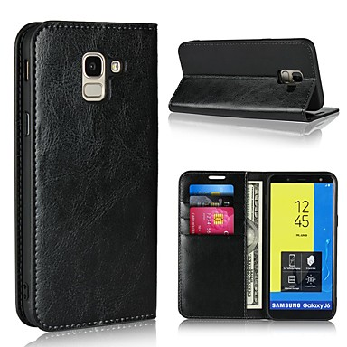 voordelige Galaxy J-serie hoesjes / covers-hoesje Voor Samsung Galaxy J7 (2017) / J6 (2018) / J5 (2017) Portemonnee / Kaarthouder / met standaard Volledig hoesje Effen Hard aitoa nahkaa