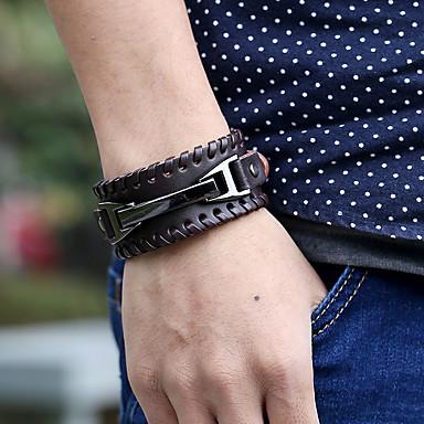 voordelige Heren Armband-Heren Lederen armbanden meetkundig Totem Series Stijlvol Vintage Punk aitoa nahkaa Armband sieraden Zwart / Bruin Voor Lahja Straat Festival