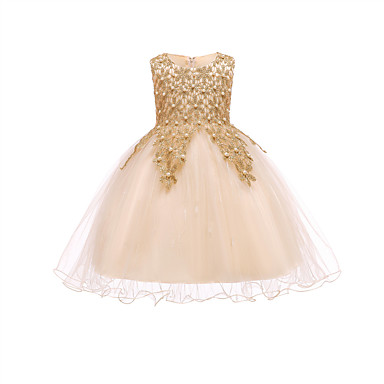 cheap Girls' Dresses-Kids Girls' Active Sweet Party Holiday Solid Colored Sequins Sleeveless Knee-length Polyester Dress Gold