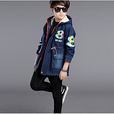 cheap Boys' Jackets & Coats-Kids Boys' Basic Daily Solid Colored Long Sleeve Regular Cotton Trench Coat Navy Blue