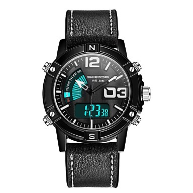 cheap Men's Watches-SANDA Men's Sport Watch Digital Watch Japanese Digital Genuine Leather Black / Red 30 m Water Resistant / Waterproof Calendar / date / day Chronograph Analog - Digital Fashion - Black Red