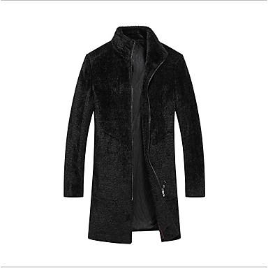お買い得  メンズファッション-男性用 パーティー / 日常 レギュラー コート, ソリッド フード付き 長袖 ウール ブラック XL / XXL / XXXL