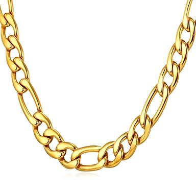 voordelige Heren Ketting-Heren Kettingen Figaro Ketting Box Chain Mariner Chain Modieus Dubai Hip Hop Roestvast staal Zwart Goud Zilver 55 cm Kettingen Sieraden 1pc Voor Lahja Dagelijks