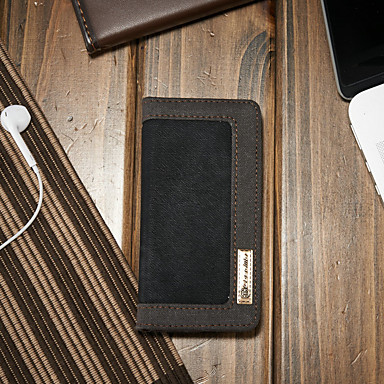 voordelige iPhone 5 hoesjes-hoesje Voor Apple iPhone SE / 5s / iPhone 5 Portemonnee / Kaarthouder / met standaard Volledig hoesje Effen Hard tekstiili