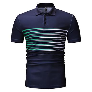 economico Abbigliamento uomo-Polo Per uomo Collage / Con stampe, Tinta unita / A strisce / A quadri Colletto - Cotone Nero XL