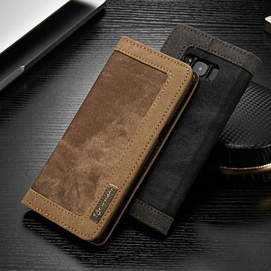 voordelige Galaxy S-serie hoesjes / covers-hoesje Voor Samsung Galaxy S8 Portemonnee / Kaarthouder / met standaard Volledig hoesje Effen Hard tekstiili