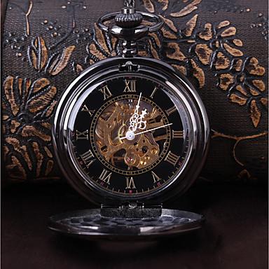 Χαμηλού Κόστους Ανδρικά ρολόγια-Ανδρικά Διάφανο Ρολόι Ρολόι Τσέπης Μηχανικό κούρδισμα Μαύρο Καθημερινό Ρολόι Απίθανο Αναλογικό Βίντατζ Καθημερινό Steampunk - Μαύρο