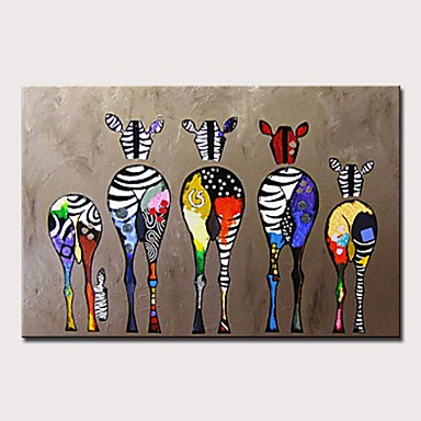 povoljno Wall Art-Hang oslikana uljanim bojama Ručno oslikana - Sažetak / Pop art Moderna Bez unutrašnje Frame