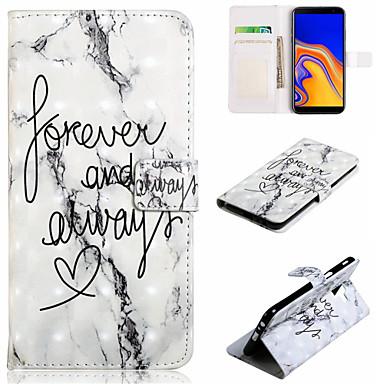 voordelige Galaxy J-serie hoesjes / covers-hoesje Voor Samsung Galaxy J7 (2017) / J7 (2016) / J6 (2018) Portemonnee / Kaarthouder / met standaard Volledig hoesje Woord / tekst / Marmer Hard PU-nahka