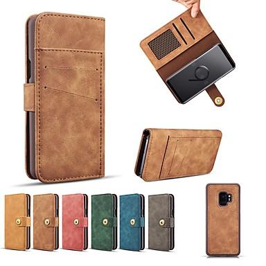 Недорогие Чехлы и кейсы для Galaxy S6-Кейс для Назначение SSamsung Galaxy S9 / S9 Plus / S8 Plus Кошелек / Бумажник для карт / Защита от удара Чехол Однотонный Твердый Настоящая кожа