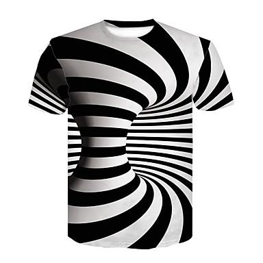 economico Abbigliamento uomo-T-shirt Per uomo Serata Essenziale / Moda città Con stampe, 3D Rotonda In bianco e nero Bianco US34 / Manica corta / Estate