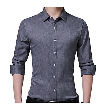 Puszysta Koszula Męskie Biznes Bawełna Praca Szczupła - Solidne kolory / Długi rękaw