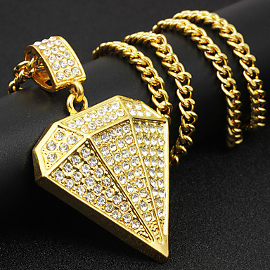 Pánské Kubický zirkon Geometrické Náhrdelníky s přívěšky - Umělé diamanty Rokové, Módní, Hip-hop Cool Zlatá, Stříbrná 71 cm Náhrdelníky Šperky 1ks Pro Street, Klub