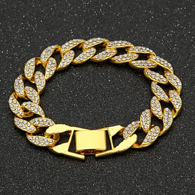 voordelige Heren Armband-Heren Zirkonia Armbanden met ketting en sluiting Cubaanse link Kostbaar Luxe Modieus Hip-hop Hip Hop Iced Out Verguld Armband sieraden Goud / Zilver Voor Dagelijks Werk / Gesimuleerde diamant