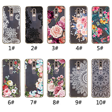 voordelige Huawei Mate hoesjes / covers-hoesje Voor Huawei Mate 10 lite / Huawei Mate 20 lite / Huawei Mate 20 pro Transparant / Patroon Achterkant Lace Printing / Bloem Zacht TPU