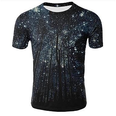 baratos Roupa de Homem Moderna-Homens Tamanhos Grandes Camiseta Estampado, Galáxia / 3D Decote Redondo Preto XXL