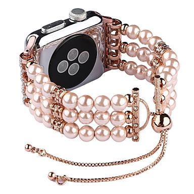 Недорогие Ремешки для Apple Watch-Модный ремешок с жемчужным браслетом для яблочных ремешков для часов 38 / 40мм 42 / 44мм серия 4 3 2 1 браслет ручной работы